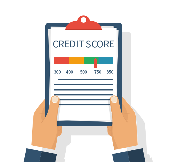 Credit Score on clipboard